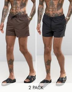 Набор из 2 пар коротких шортов для плавания (черные/коричневые) ASOS - СКИДКА - Мульти