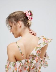Повязка на голову с цветочной отделкой ASOS - Розовый