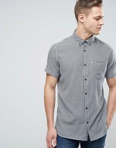 Узкая рубашка в клеточку с короткими рукавами и карманом Jack & Jones Originals - Белый