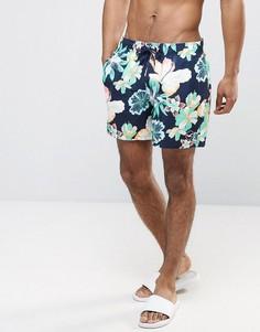 Темно-синие шорты для плавания с цветочным принтом и логотипом-чайкой Hollister Guard - Темно-синий