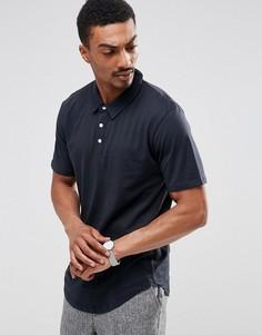 Трикотажная футболка-поло с закругленным низом Troy - Темно-синий