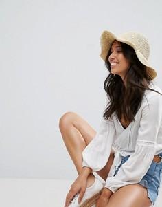 Соломенная шляпа в стиле кроше с узкими полями ASOS - Коричневый