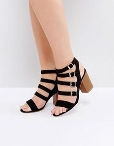 Босоножки на каблуке с несколькими пряжками New Look - Черный