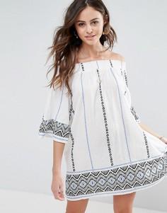 Свободное платье с открытыми плечами, принтом и рукавами клеш Boohoo - Синий
