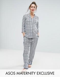 Пижамный комплект из рубашки и брюк с мозаичным принтом для беременных ASOS Maternity - Синий