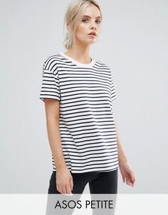 Свободная льняная футболка в полоску ASOS PETITE - Мульти