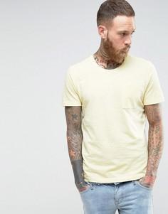Меланжевая трикотажная футболка с карманом Selected Homme - Желтый