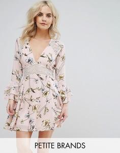 Короткое приталенное платье с цветочным принтом и кружевной вставкой Boohoo Petite - Розовый