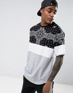 Oversize-футболка с принтом пейсли и вставками ASOS - Мульти