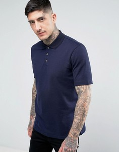 Фактурная футболка-поло узкого кроя HUGO by Hugo Boss Dateno - Темно-синий