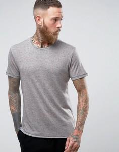 Длинная футболка с добавлением льна и асимметричным краем Selected Homme - Розовый