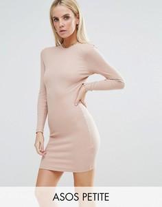 Облегающее платье мини в рубчик с длинными рукавами ASOS PETITE - Розовый