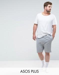 Трикотажные пижамные шорты с фирменным поясом ASOS PLUS - Серый