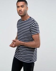 Oversize-футболка в полоску из органического хлопка Selected Homme - Темно-синий