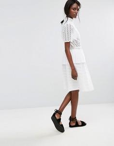 Юбка с вышивкой ришелье Selected - Белый