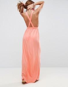 Трикотажное пляжное платье макси с перекрестом на спине ASOS - Оранжевый