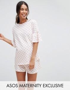 Пижама с шортами в горошек ASOS Maternity - Розовый