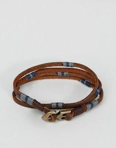 Кожаный браслет в два оборота с якорем ASOS - Мульти