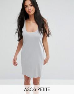 Платье-майка мини в рубчик с необработанными краями ASOS PETITE Ultimate - Серый