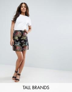 Жаккардовая мини-юбка New Look Tall - Черный