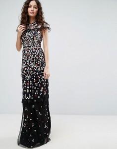 Платье с цветочной вышивкой Needle & Thread - Черный