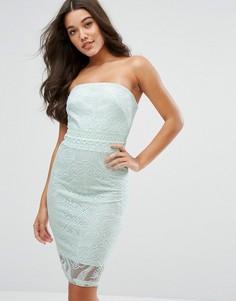 Платье-футляр бандо с цветочной вышивкой Michelle Keegan Loves Lipsy - Зеленый