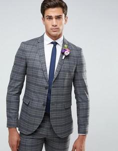 Облегающий пиджак в клетку Jack & Jones Premium - Серый