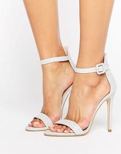 Серебристые босоножки на каблуке Public Desire Crystal - Серебряный