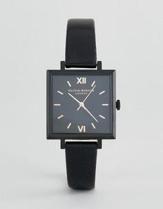 Часы с кожаным ремешком и большим квадратным циферблатом Olivia Burton - Черный