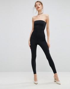 Черный джинсовый комбинезон-трико с открытыми плечами ASOS - Черный