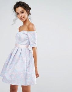Жаккардовое платье мини Chi Chi London - Мульти