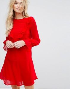 Платье с длинными рукавами и оборками Y.A.S Riku - Красный