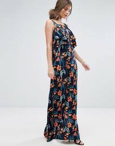 Платье макси на бретелях с тропическим принтом Boohoo - Темно-синий