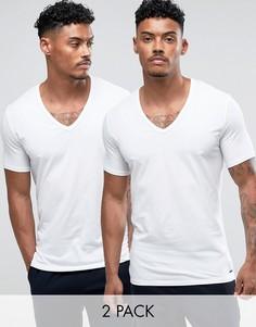 2 белые футболки с V-образным вырезом Calvin Klein - Белый