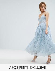 Кружевное платье миди для выпускного ASOS PETITE - Мульти