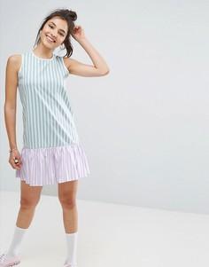 Свободное платье мини без рукавов с оборкой по краю ASOS - Мульти