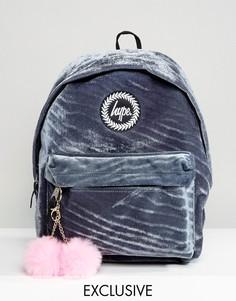Эксклюзивный серый бархатный рюкзак с розовым помпоном Hype - Серый
