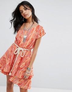 Многоярусное платье мини на одно плечо Free People Heart Shaped Face - Кремовый