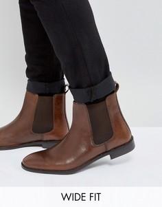 Коричневые кожаные ботинки челси для широкой стопы ASOS - Коричневый