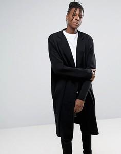 Черное длинное легкое пальто из трикотажа ASOS - Черный