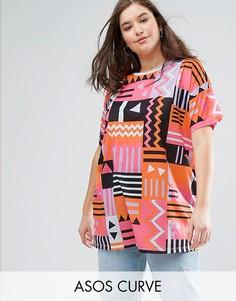 Oversize-футболка с ацтекским принтом в стиле 80-х ASOS CURVE - Мульти