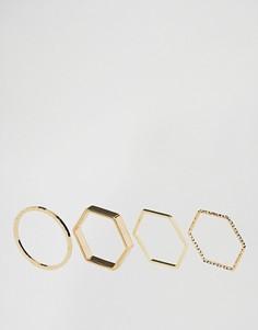 4 минималистских кольца ограниченной серии с геометрическим дизайном - Золотой Asos