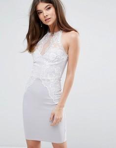 Облегающее платье с кружевной отделкой Lipsy - Серый