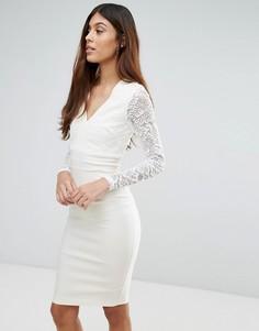 Кружевное платье-футляр с длинными рукавами и V-образным вырезом Vesper - Кремовый