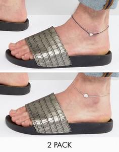 Темно-синий браслет на ногу с цепочкой и шнурком DesignB эксклюзивно для ASOS - Темно-синий