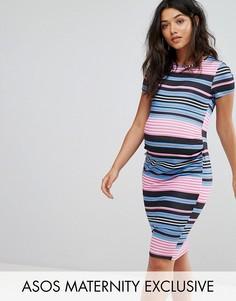 Облегающее платье-футболка в полоску ASOS Maternity - Мульти