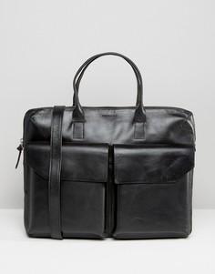 Кожаная сумка для ноутбука с двумя карманами Royal Republiq Courier - Черный