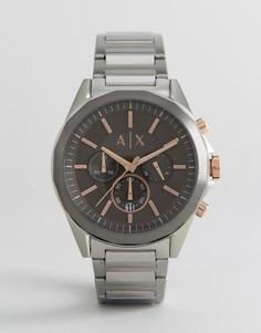 Серебристые наручные часы 44 мм с хронографом Armani Exchange AX2606 - Серебряный
