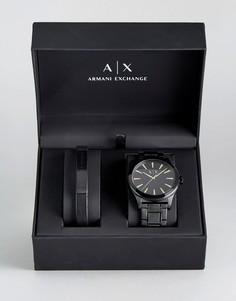 Подарочный набор из часов черного цвета и браслета Armani Exchange AX7102 - Черный