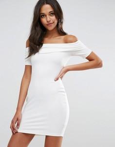 Сверхмягкое облегающее платье мини с открытыми плечами и широким отворотом ASOS - Кремовый